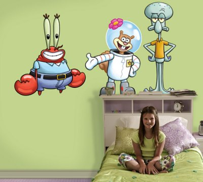 mr krabs sandy squidward wall decals